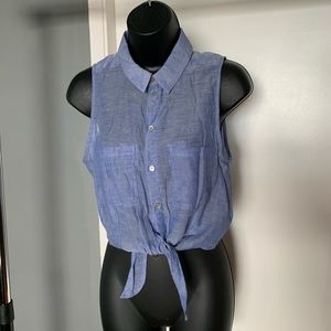 like nw H&M see-through blue button crop top 6/$14